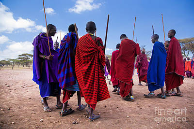 Person Photograph - Maasai Men In Their Ritual Dance In Their Village In Tanzania by Michal Bednarek