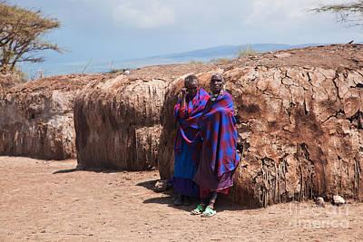 Maasai People In Their Village In Tanzania Art Print