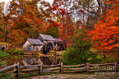 Photograph - Mabry Mill Autumn Morning by Deborah Scannell