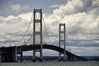 Mackinaw City Photograph - Mackinaw Bridge By The Straits Of Mackinac by Randall Nyhof