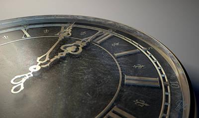 Fleur De Lis Digital Art - Macro Antique Watch Midnight by Allan Swart