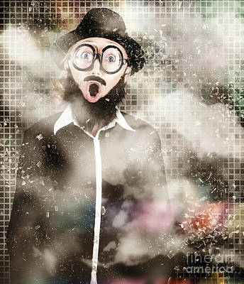 Mad Scientist With Solution To Chemical Reaction  Art Print