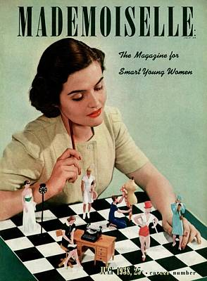 Chessboard Photograph - Mademoiselle Cover Featuring A Model by Paul D'Ome
