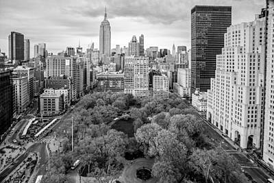 Empire State Photograph - Madison Square Park Birds Eye View by Susan Candelario