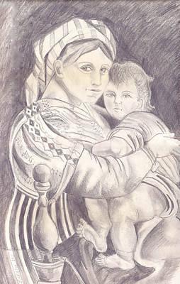 Drawing - Madonna And Child by John Keaton