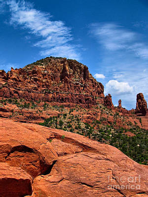Madonna And Child Two Nuns Rock Formations Sedona Arizona Print by Amy Cicconi