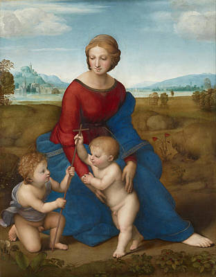 Religious Artist Painting - Madonna In The Meadow by Raphael