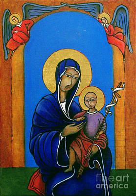 Virgen Mary Painting - Madonna With Child And Cross by Estefan Gargost