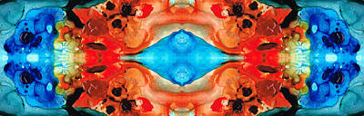 Native American Symbols Painting - Magic Mirror - Abstract Art By Sharon Cummings by Sharon Cummings