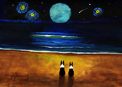 Boston Terrier Painting - Magical Night by Todd Young