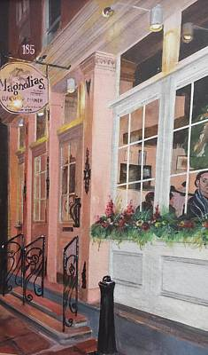 Store Fronts Painting - Magnolias Restaurant by Cheryl LaBahn Simeone