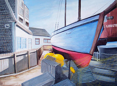 Painting - Maine Boatyard by Ronald Lightcap