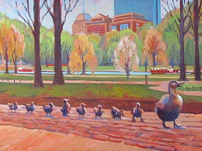 Boston Public Garden Painting - Make Way For Ducklings by Dianne Panarelli Miller
