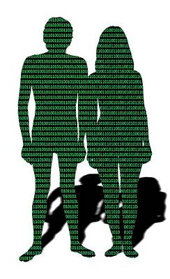 Female Likeness Photograph - Male And Female With Binary Code by Victor De Schwanberg