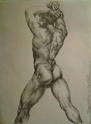 Hunk Drawing - Male Body by Manat Large