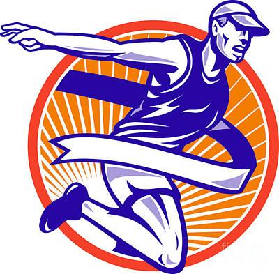 Jogging Digital Art - Male Marathon Runner Running Retro Woodcut by Aloysius Patrimonio