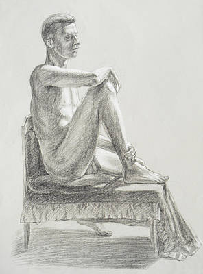 Drawing - Male Model Seated Charcoal Study by Irina Sztukowski