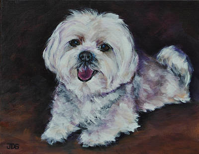 Toy Maltese Painting - Maltese by Julie Dalton Gourgues