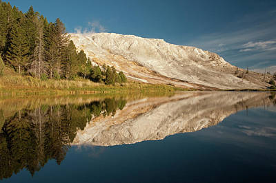 Mammoth Hot Springs Photograph - Mammoth Hot Springs, Reflected In Small by Howie Garber