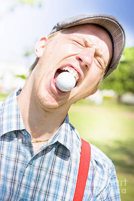 Man Catches Golf Ball In Mouth Art Print