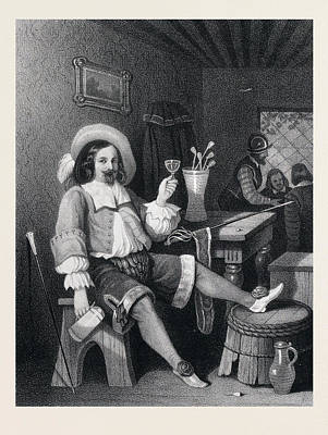 Wine-glass Drawing - Man Drinking Wine, Wine Glass, Jug, Hat, Walking Stick by English School