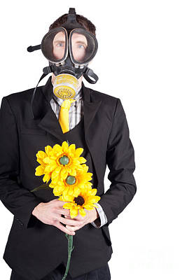 Abstract Flowers Royalty-Free and Rights-Managed Images - Man in gas mask with flowers by Jorgo Photography - Wall Art Gallery