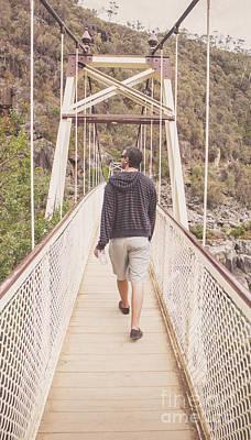 Enjoyment Photograph - Man On Alexandra Suspension Bridge In Tasmania by Jorgo Photography - Wall Art Gallery