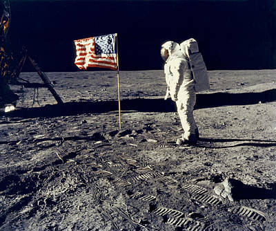 Buzz Photograph - Man On The Moon by Neil Armstrong/Underwood Archive
