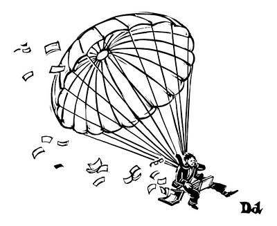 Laptop Drawing - Man Parachuting While Working On His Laptop by Drew Dernavich