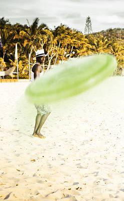 Man Playing Frisbee On Beach Art Print by Jorgo Photography - Wall Art Gallery