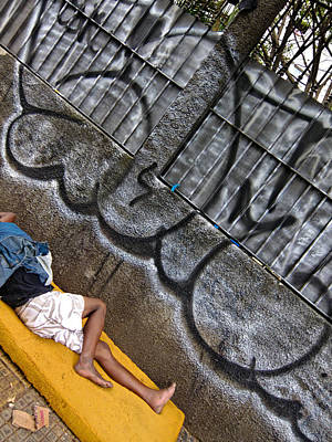 Photograph - Man Sleeping In Sao Paulo by Julie Niemela