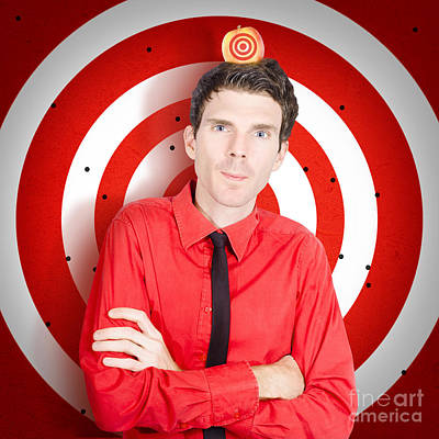 Man Standing In Front Of Target Sign With Apple Art Print by Jorgo Photography - Wall Art Gallery