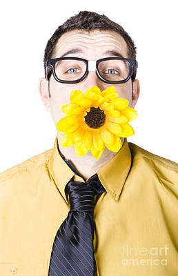 Sunflowers Royalty-Free and Rights-Managed Images - Man with flower in mouth by Jorgo Photography - Wall Art Gallery