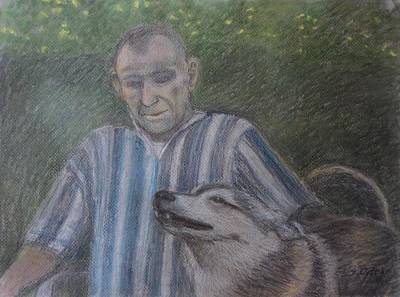 Drawing - Man With His Wolf by Sandra Lytch