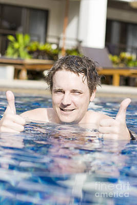 Man With Thumbs Up In Pool Print by Jorgo Photography - Wall Art Gallery
