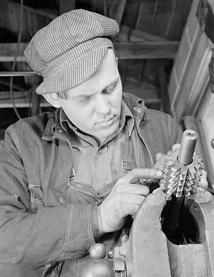 Man Working In A Small Machine Shop Art Print