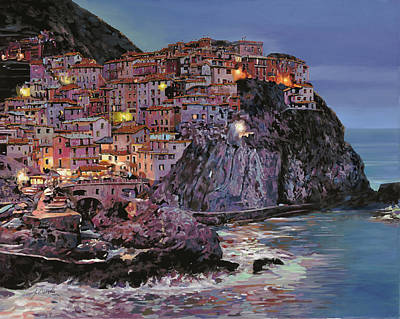 Beach Royalty-Free and Rights-Managed Images - Manarola at dusk by Guido Borelli
