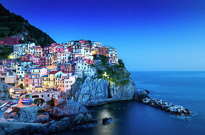 Photograph - Manarola Cinque Terre At Night, Liguria by Pidjoe