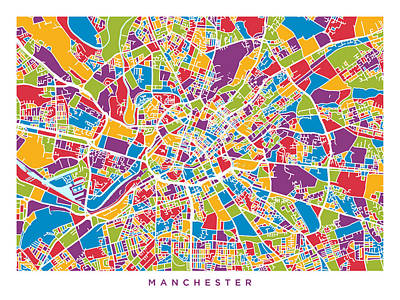 Abstract Digital Art - Manchester England Street Map by Michael Tompsett