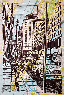 Manhattan On Map Original by William Cauthern