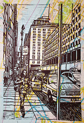 Manhattan On Map Art Print by William Cauthern