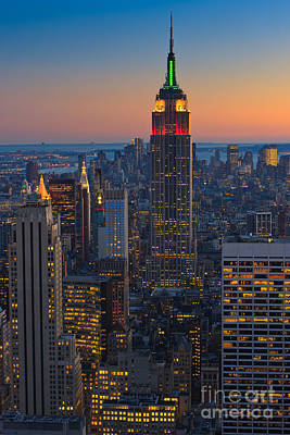 Manhattan View At Sunset Art Print by Henk Meijer Photography