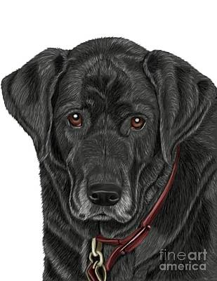 Retriever Digital Art - Mans Best Friend by Karen Sheltrown