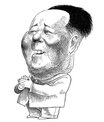 Drawing - Mao Tse-tung Caricature by Edmund Valtman