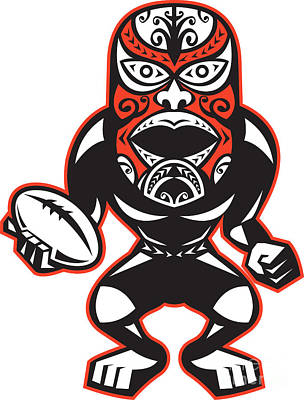 Rugby Union Digital Art - Maori Mask Rugby Player Standing With Ball by Aloysius Patrimonio