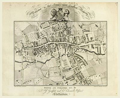 Map, Griffiths New Historical Description Of Cheltenham Art Print by Litz Collection