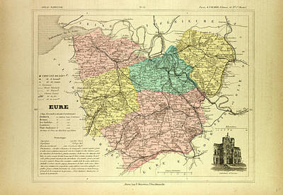 Map Of Eure France Art Print by French School
