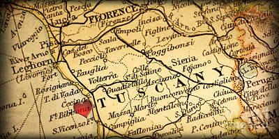 Italian Countryside Photograph - Map Of Florence Tuscany Italy Europe In A Antique Distressed Vin by ELITE IMAGE photography By Chad McDermott