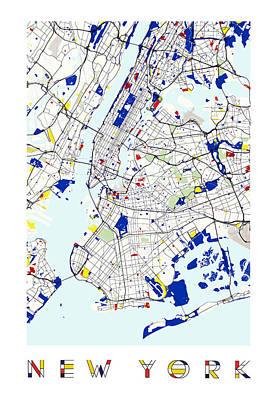 Fabric Digital Art - Map Of New York In The Style Of Piet Mondrian by Celestial Images