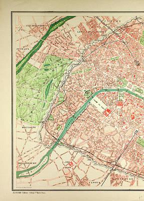 paris map drawing map of paris by english school
